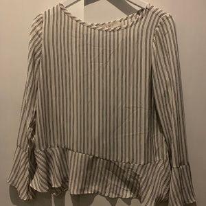 loft stripe peasant sleeve blouse cross back NWOT